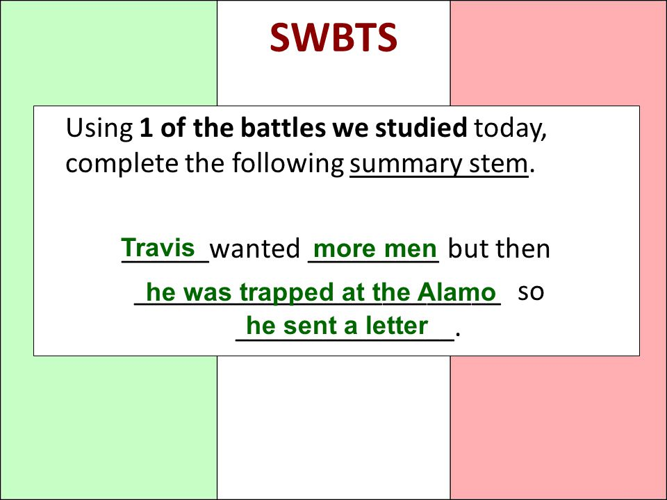 SWBTS Using 1 of the battles we studied today, complete the following summary stem.