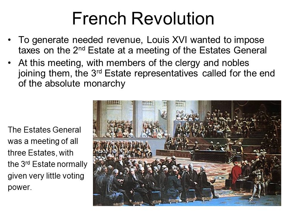 French Revolution Peasants in Paris, afraid that the King would put down the Estates General by force, and by rumors of foreign troops invading France, attacked the Bastille, in search of gun powder and arms The rebellion eventually spread to the French countryside, and eventually led to the execution of the King and Queen