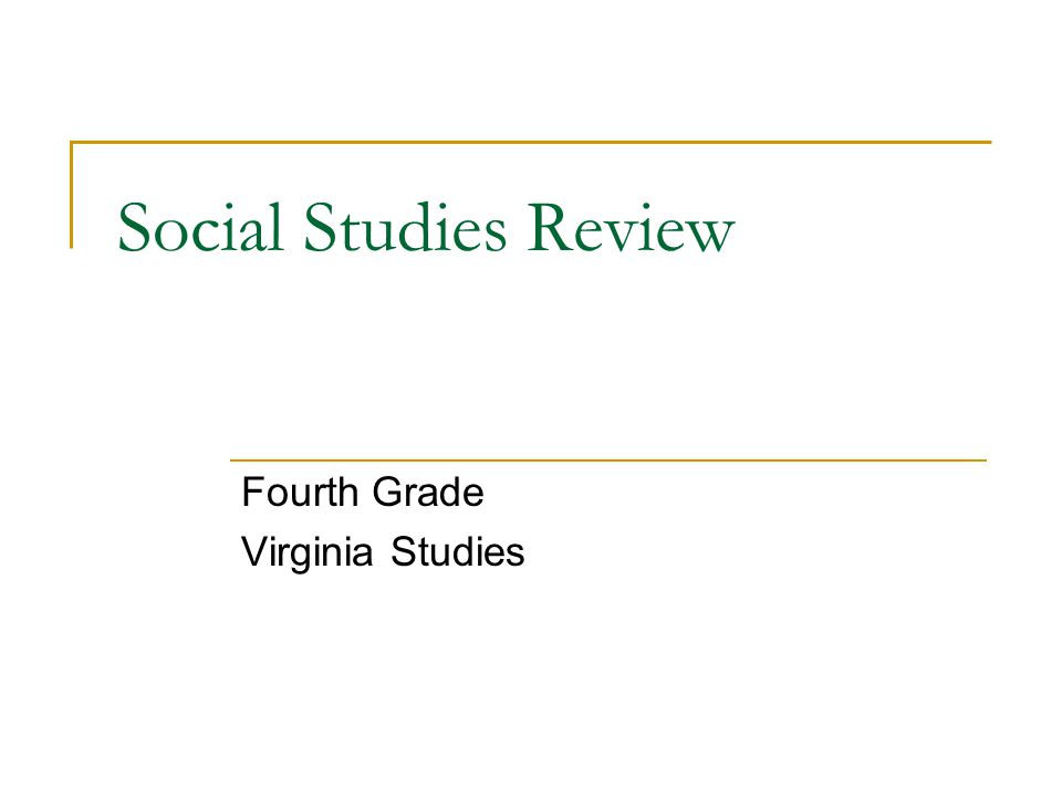 Social Studies Review Fourth Grade Virginia Studies