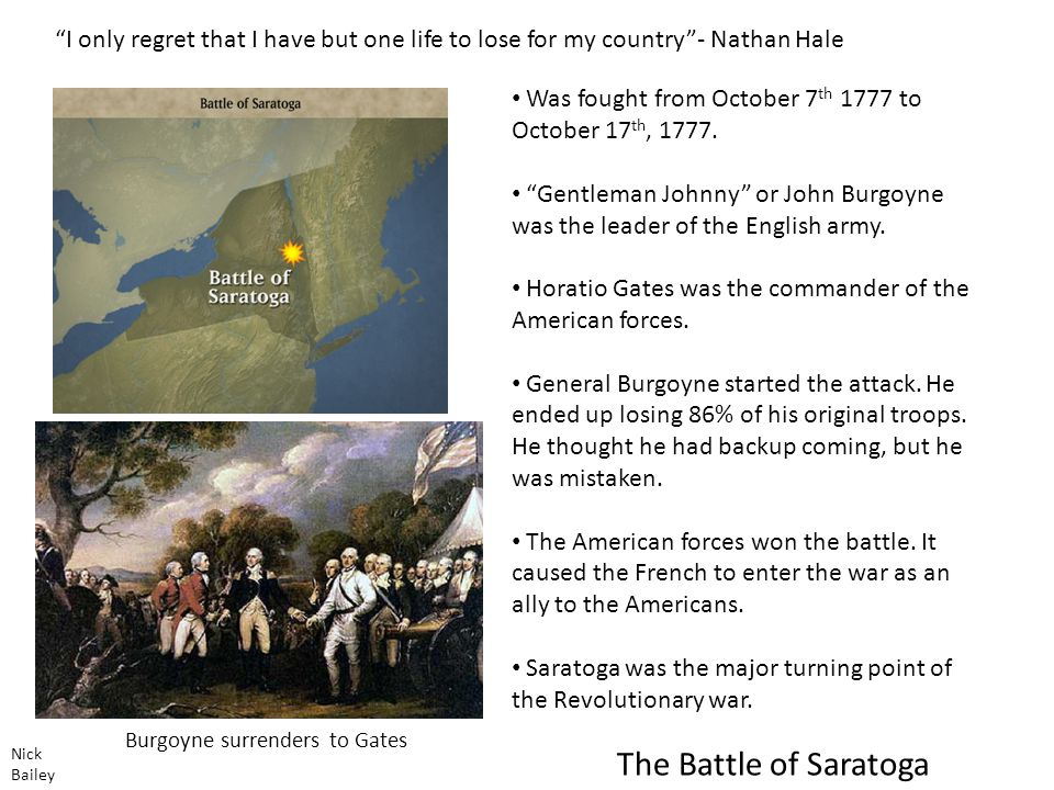 The Battle of Saratoga Was fought from October 7 th 1777 to October 17 th, 1777.