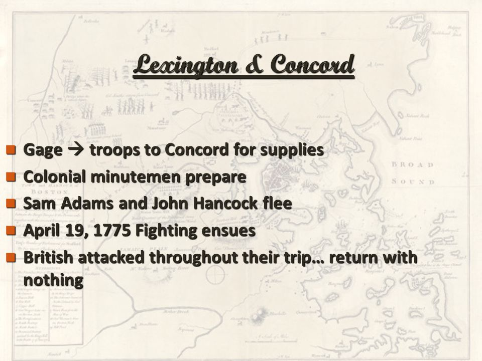 Gage  troops to Concord for supplies Gage  troops to Concord for supplies Colonial minutemen prepare Colonial minutemen prepare Sam Adams and John H