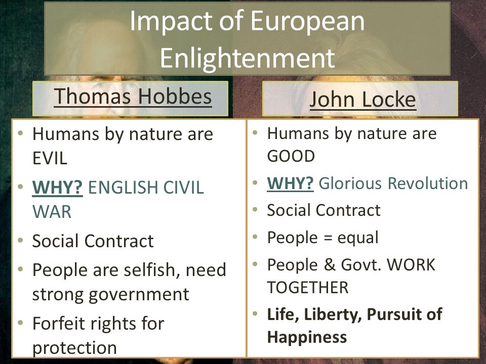 Impact of European Enlightenment Thomas Hobbes Humans by nature are EVIL WHY.