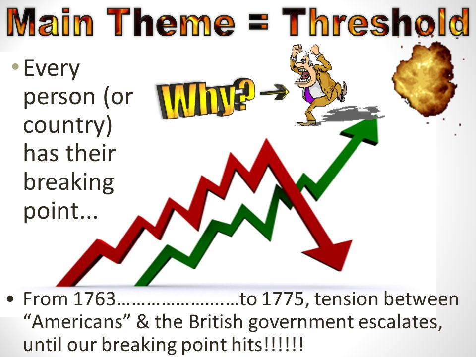 """Every person (or country) has their breaking point... From 1763………………….…to 1775, tension between """"Americans"""" & the British government escalates, until"""
