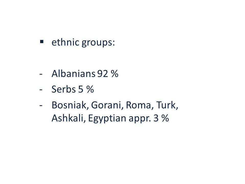  ethnic groups: -Albanians 92 % -Serbs 5 % -Bosniak, Gorani, Roma, Turk, Ashkali, Egyptian appr.