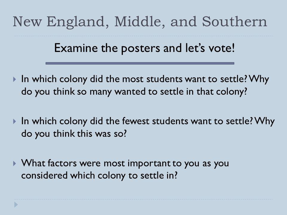 New England, Middle, and Southern Examine the posters and let's vote!  In which colony did the most students want to settle? Why do you think so many