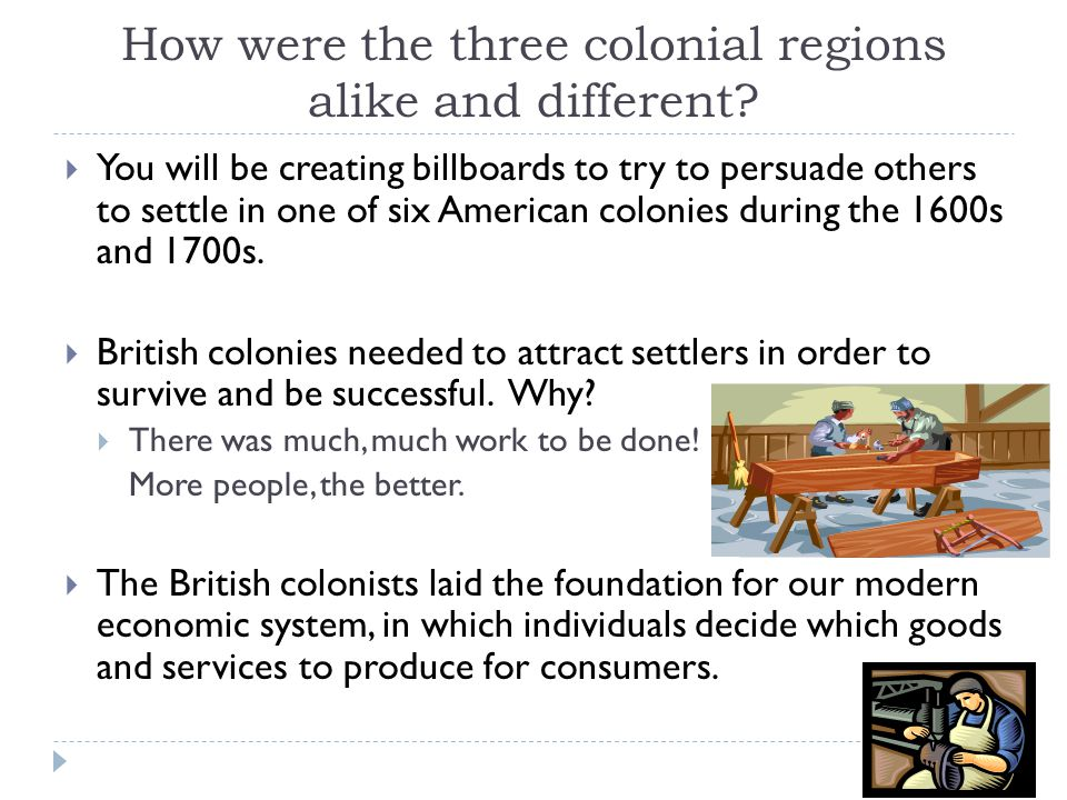 How were the three colonial regions alike and different?  You will be creating billboards to try to persuade others to settle in one of six American