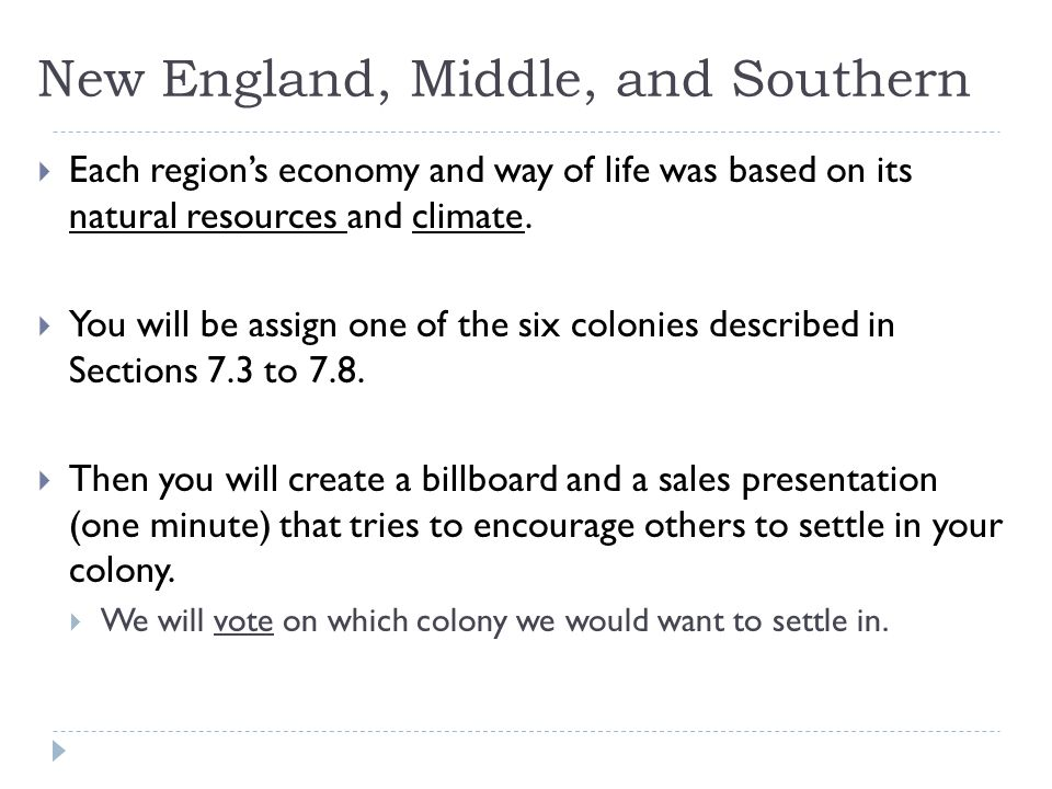 New England, Middle, and Southern  Answer these questions AFTER finishing your billboard:  What does the billboard want people to do.