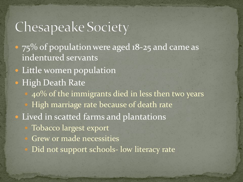 75% of population were aged 18-25 and came as indentured servants Little women population High Death Rate 40% of the immigrants died in less then two