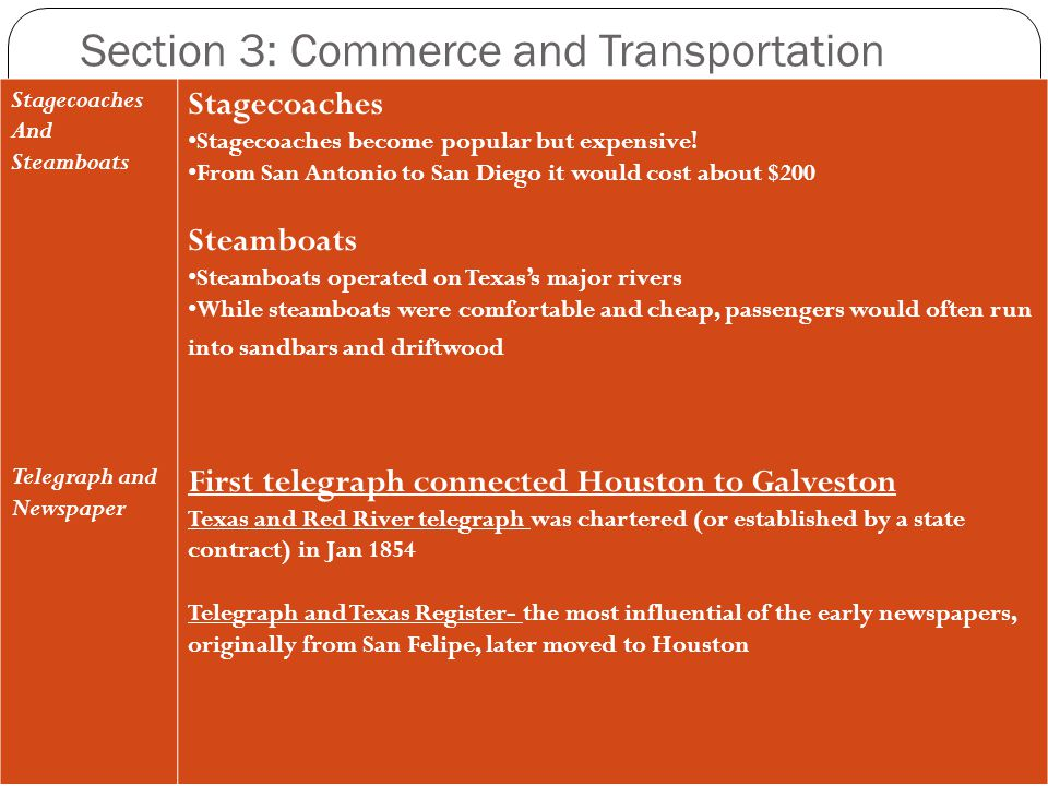 Section 3: Commerce and Transportation Stagecoaches And Steamboats Telegraph and Newspaper Stagecoaches Stagecoaches become popular but expensive! Fro