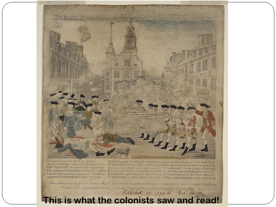 This is what the colonists saw and read!