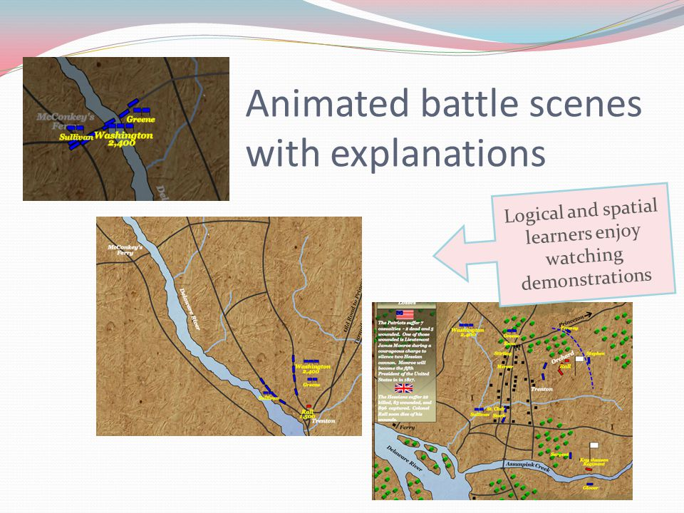 Animated battle scenes with explanations Logical and spatial learners enjoy watching demonstrations