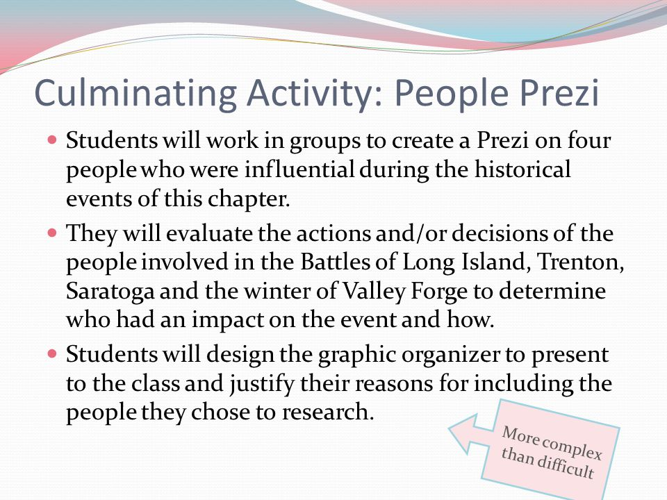 Culminating Activity: People Prezi Students will work in groups to create a Prezi on four people who were influential during the historical events of this chapter.