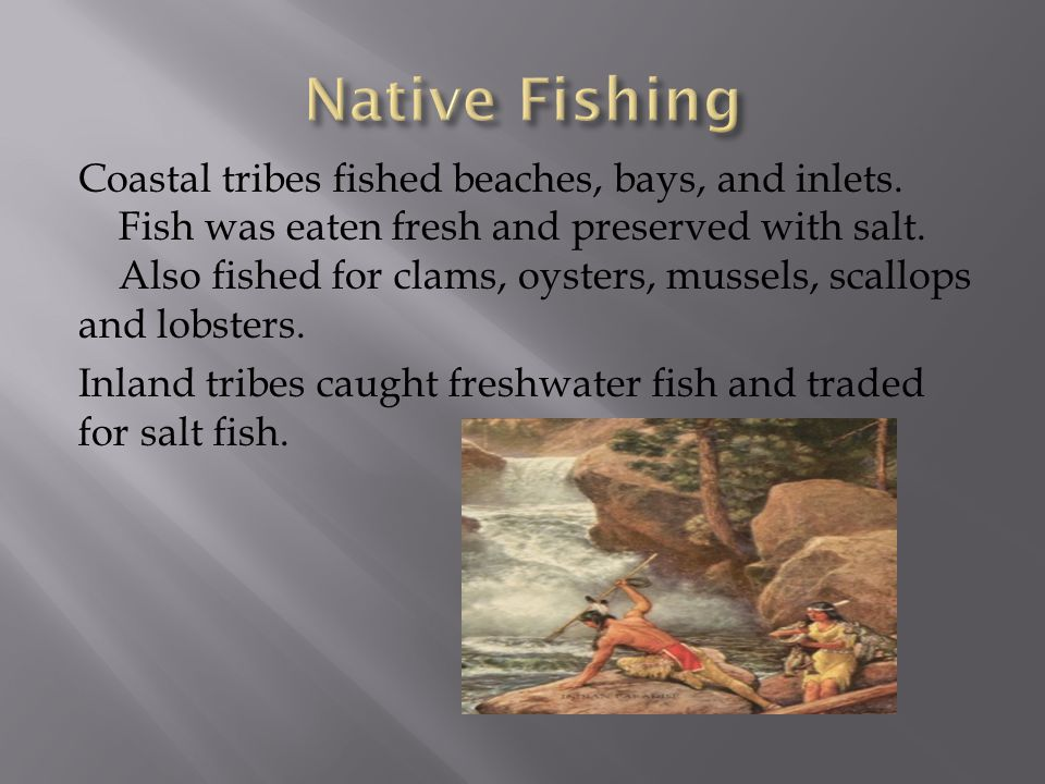 Coastal tribes fished beaches, bays, and inlets. Fish was eaten fresh and preserved with salt.