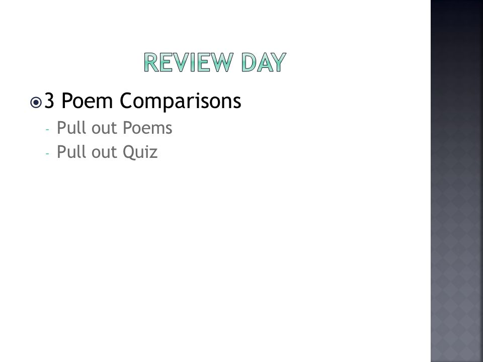  3 Poem Comparisons - Pull out Poems - Pull out Quiz