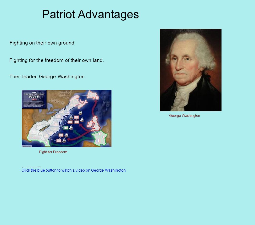 Patriot Advantages Fighting on their own ground Fighting for the freedom of their own land.