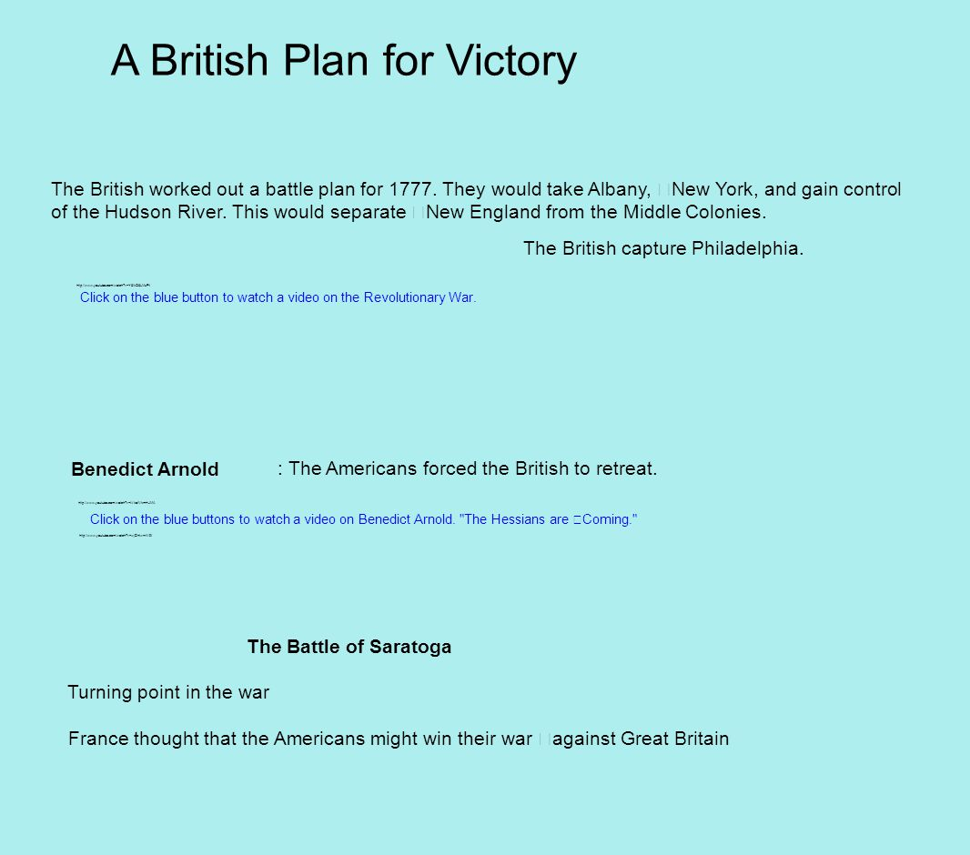 A British Plan for Victory The British worked out a battle plan for 1777.