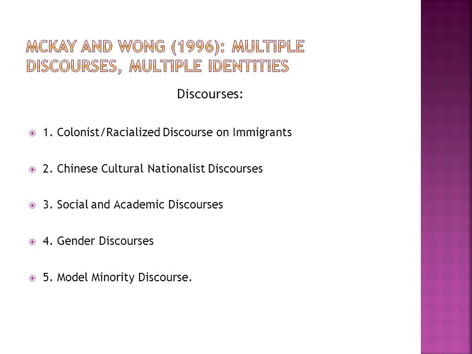 Discourses:  1. Colonist/Racialized Discourse on Immigrants  2.