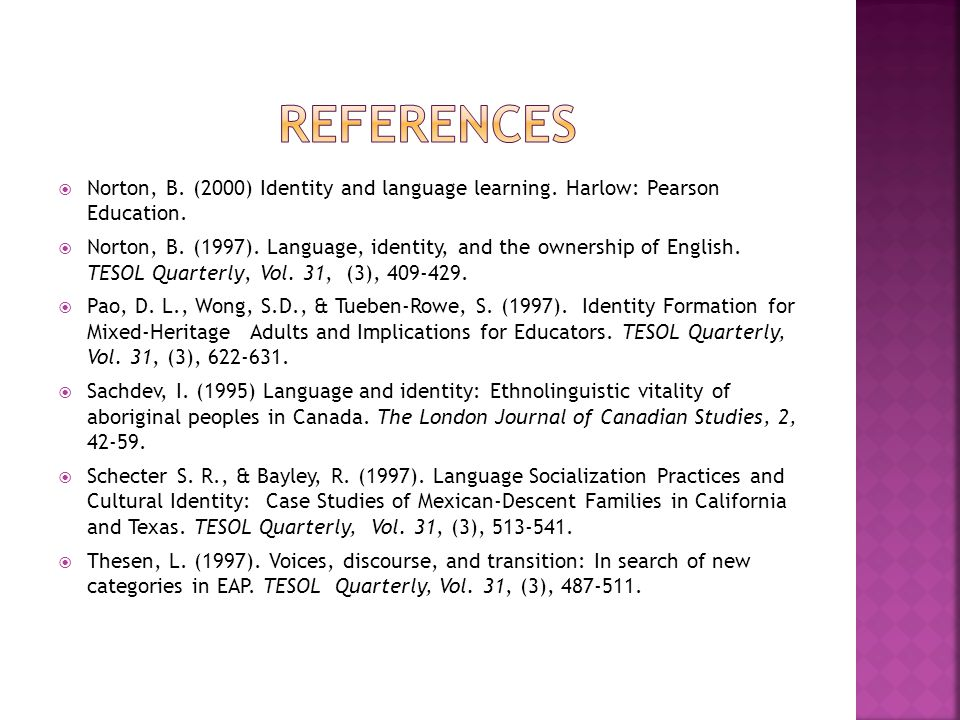  Norton, B. (2000) Identity and language learning.