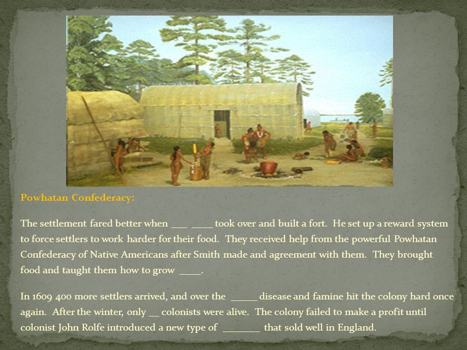 Powhatan Confederacy: The settlement fared better when ___ ____ took over and built a fort.