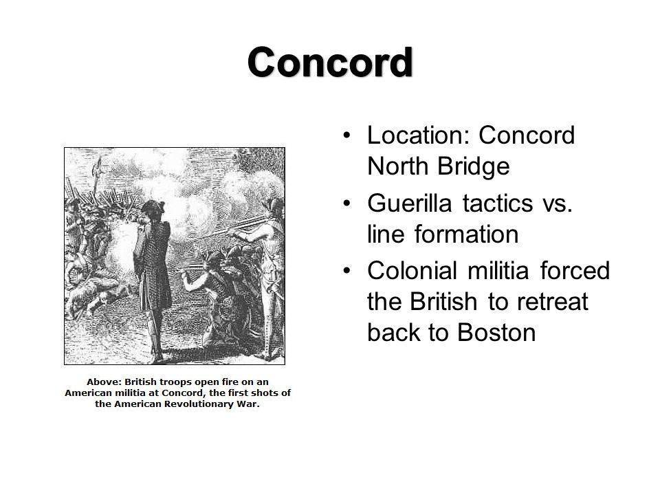Location: Concord North Bridge Guerilla tactics vs.