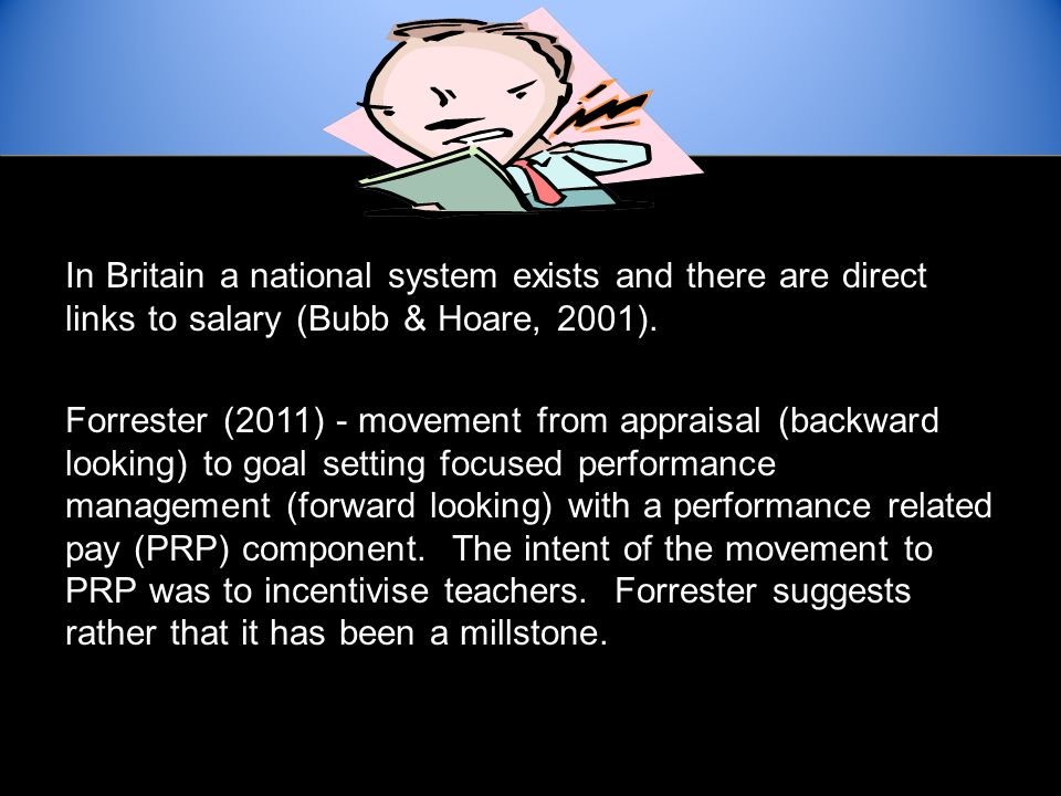 In Britain a national system exists and there are direct links to salary (Bubb & Hoare, 2001).