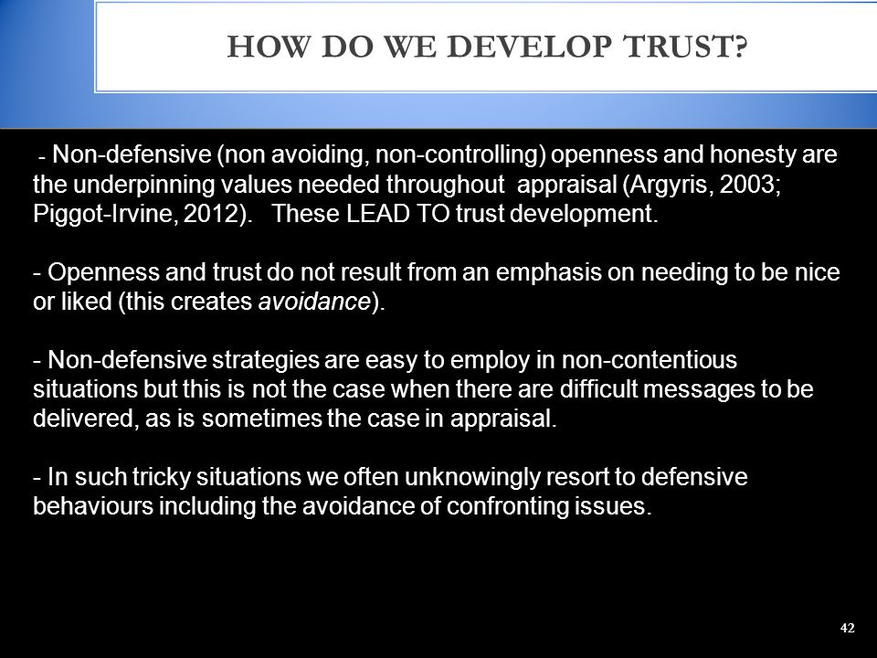 HOW DO WE DEVELOP TRUST.