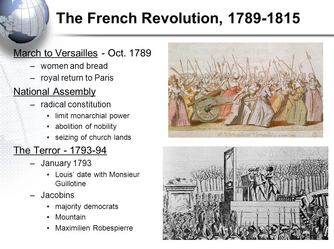 The French Revolution, 1789-1815 March to Versailles - Oct. 1789 –women and bread –royal return to Paris National Assembly –radical constitution limit