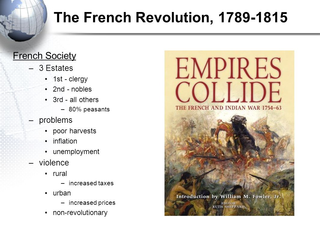 The French Revolution, 1789-1815 French Society –3 Estates 1st - clergy 2nd - nobles 3rd - all others –80% peasants –problems poor harvests inflation