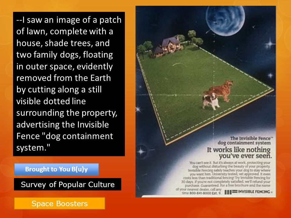 Space Boosters Brought to You B(u)y --I saw an image of a patch of lawn, complete with a house, shade trees, and two family dogs, floating in outer sp