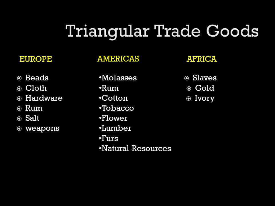 EUROPEAFRICA  Beads  Cloth  Hardware  Rum  Salt  weapons  Slaves  Gold  Ivory Molasses Rum Cotton Tobacco Flower Lumber Furs Natural Resource