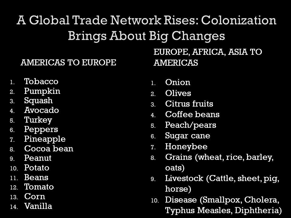 AMERICAS TO EUROPE EUROPE, AFRICA, ASIA TO AMERICAS 1. Tobacco 2. Pumpkin 3. Squash 4. Avocado 5. Turkey 6. Peppers 7. Pineapple 8. Cocoa bean 9. Pean