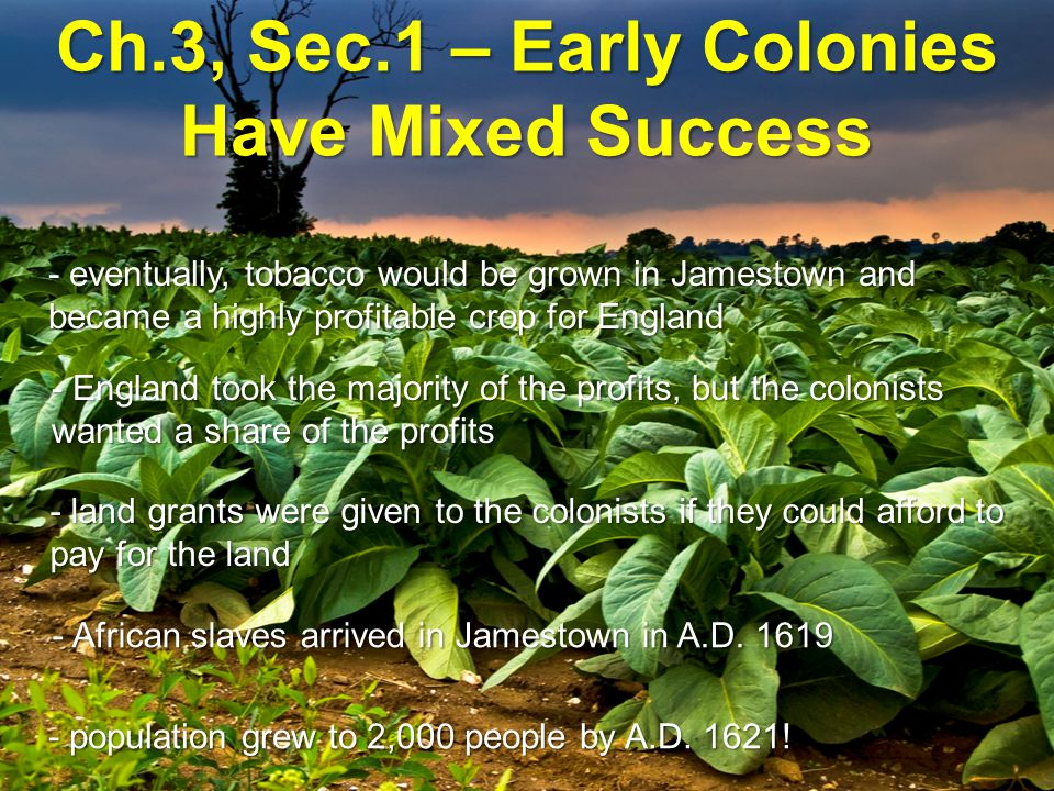 Ch.3, Sec.1 – Early Colonies Have Mixed Success - those who could not afford the passage to America became indentured servants until their debt was paid off - the House of Burgesses was created in A.D.