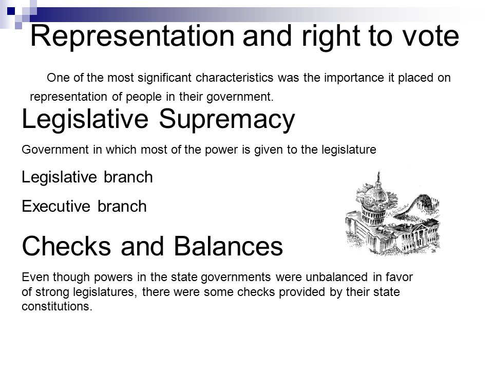 Representation and right to vote One of the most significant characteristics was the importance it placed on representation of people in their government.