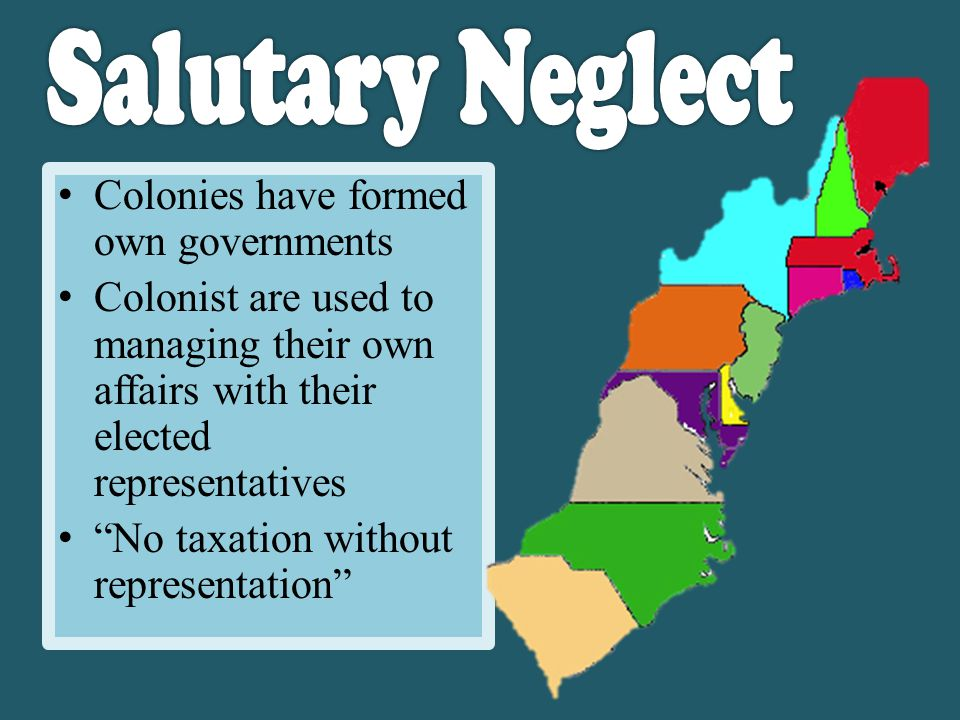 Colonies have formed own governments Colonist are used to managing their own affairs with their elected representatives No taxation without representation