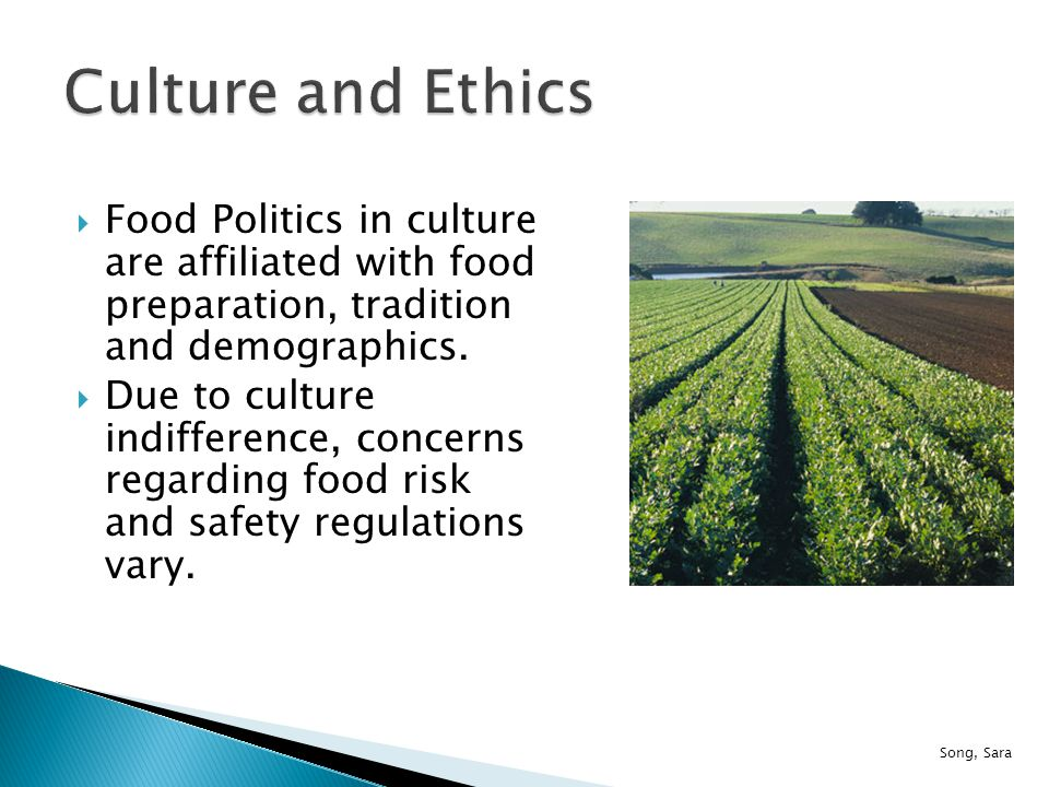  Food Politics in culture are affiliated with food preparation, tradition and demographics.