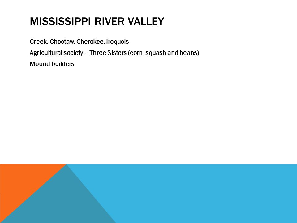 MISSISSIPPI RIVER VALLEY Creek, Choctaw, Cherokee, Iroquois Agricultural society – Three Sisters (corn, squash and beans) Mound builders