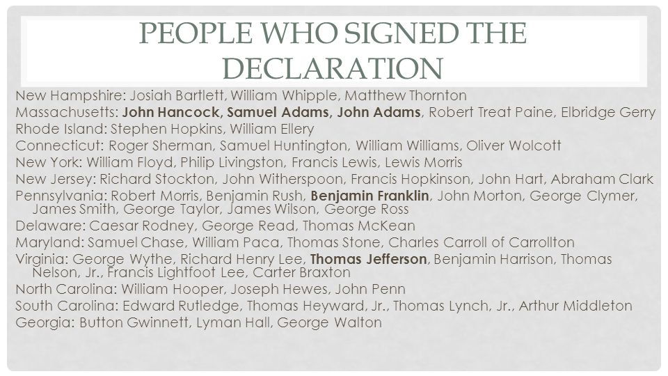 Warm up Activity: 1.Who was the first person to sign the Declaration of Independence.