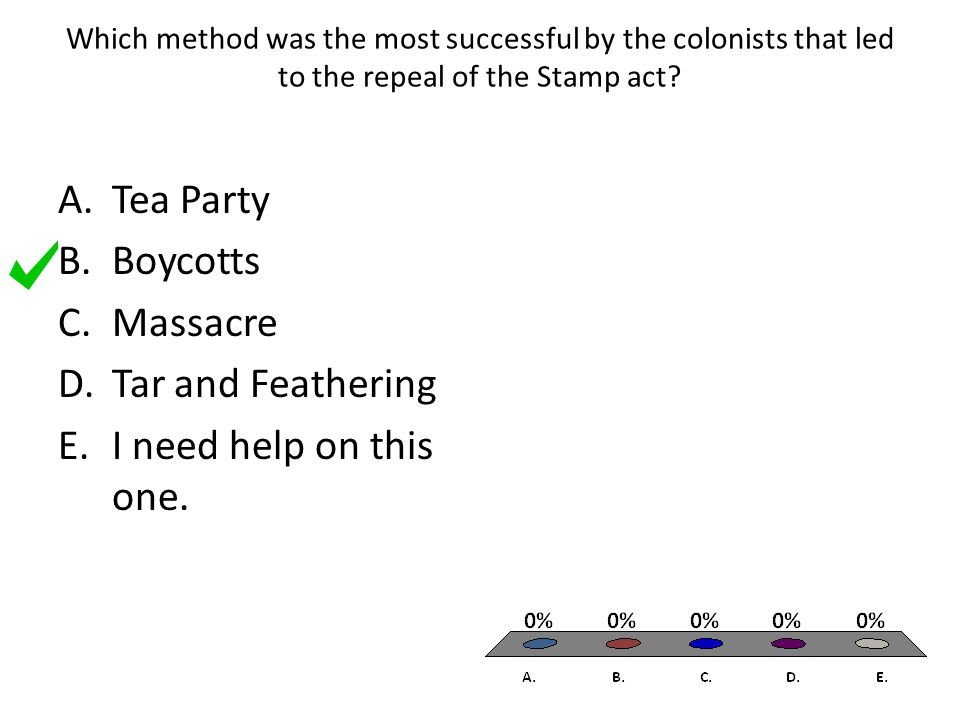Which method was the most successful by the colonists that led to the repeal of the Stamp act? A.Tea Party B.Boycotts C.Massacre D.Tar and Feathering