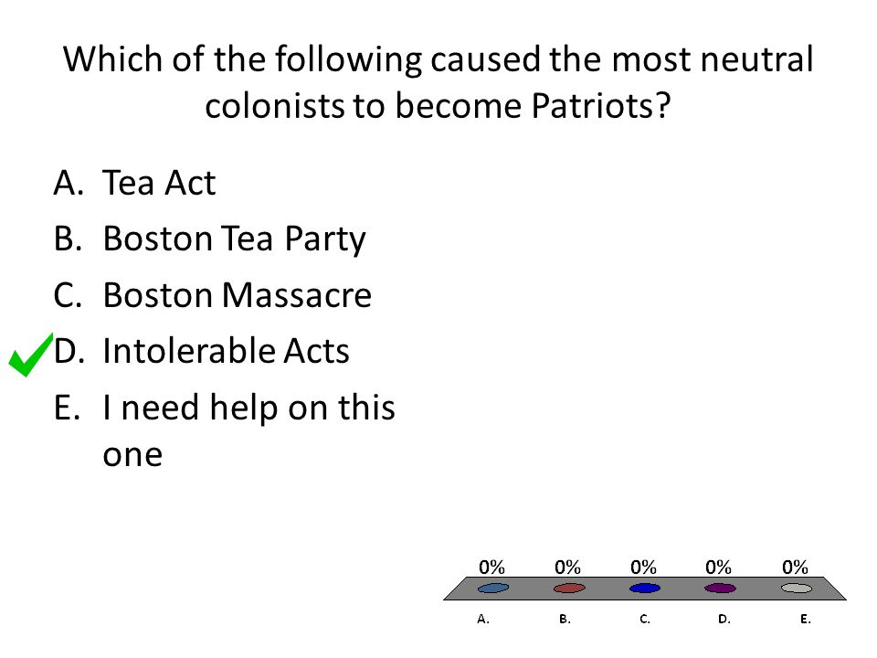 Which of the following caused the most neutral colonists to become Patriots.
