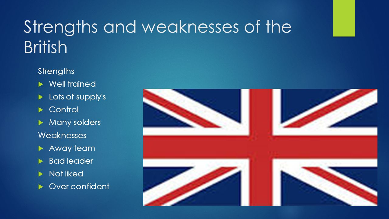 Strengths and weaknesses of the British Strengths  Well trained  Lots of supply s  Control  Many solders Weaknesses  Away team  Bad leader  Not liked  Over confident