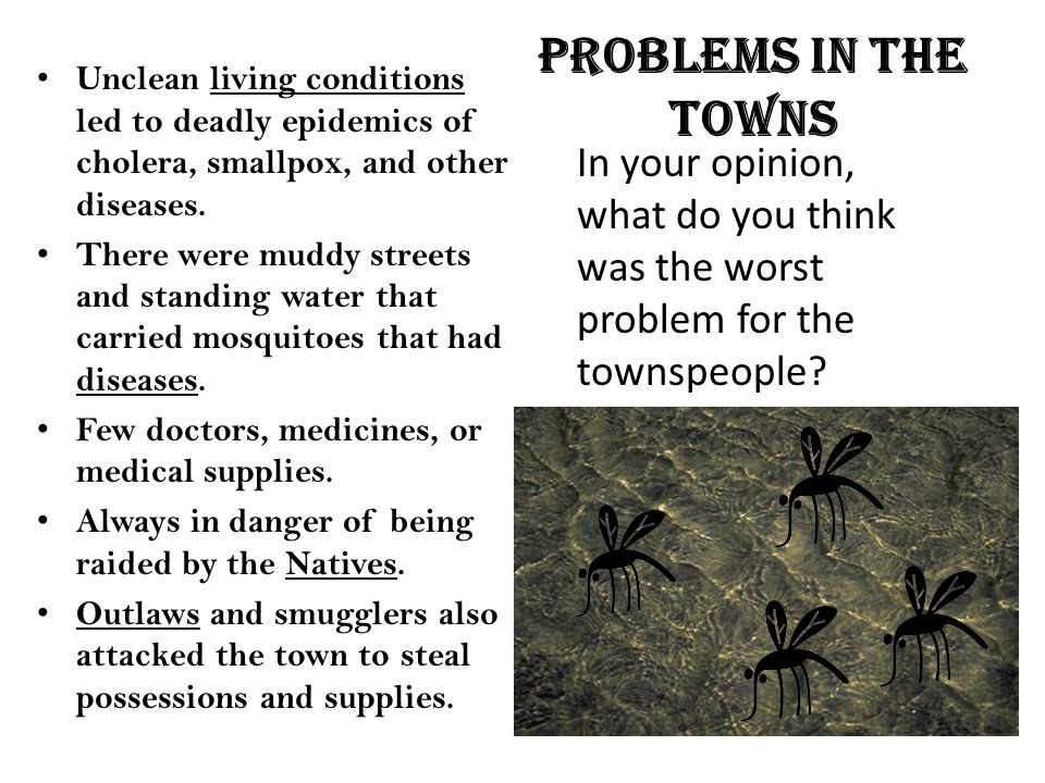 Problems in the towns Unclean living conditions led to deadly epidemics of cholera, smallpox, and other diseases. There were muddy streets and standin