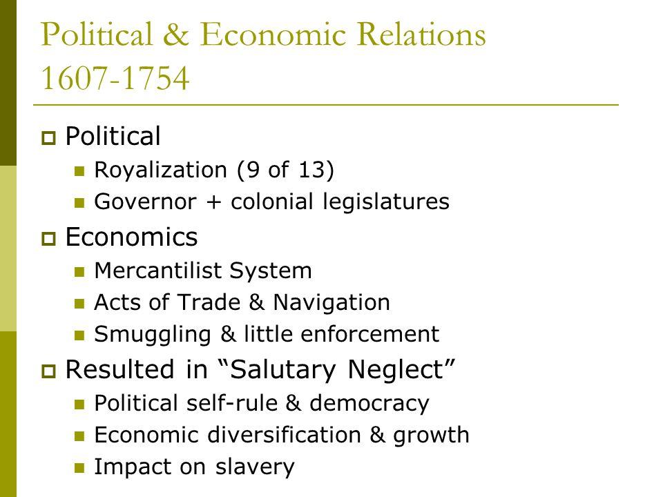 Political & Economic Relations 1607-1754  Political Royalization (9 of 13) Governor + colonial legislatures  Economics Mercantilist System Acts of T