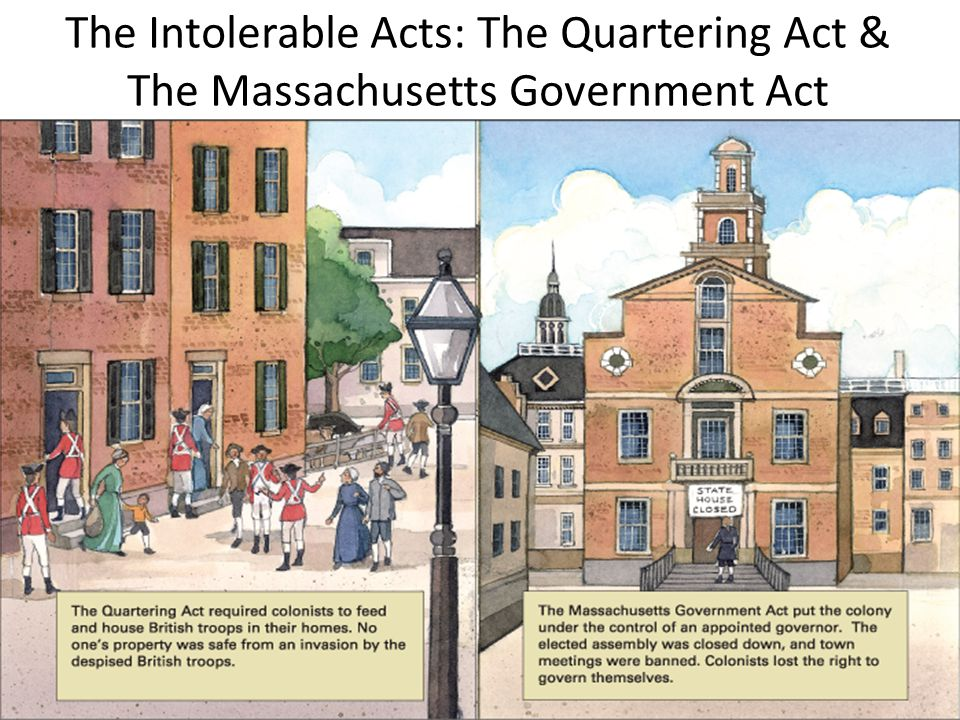The Intolerable Acts: The Quartering Act & The Massachusetts Government Act