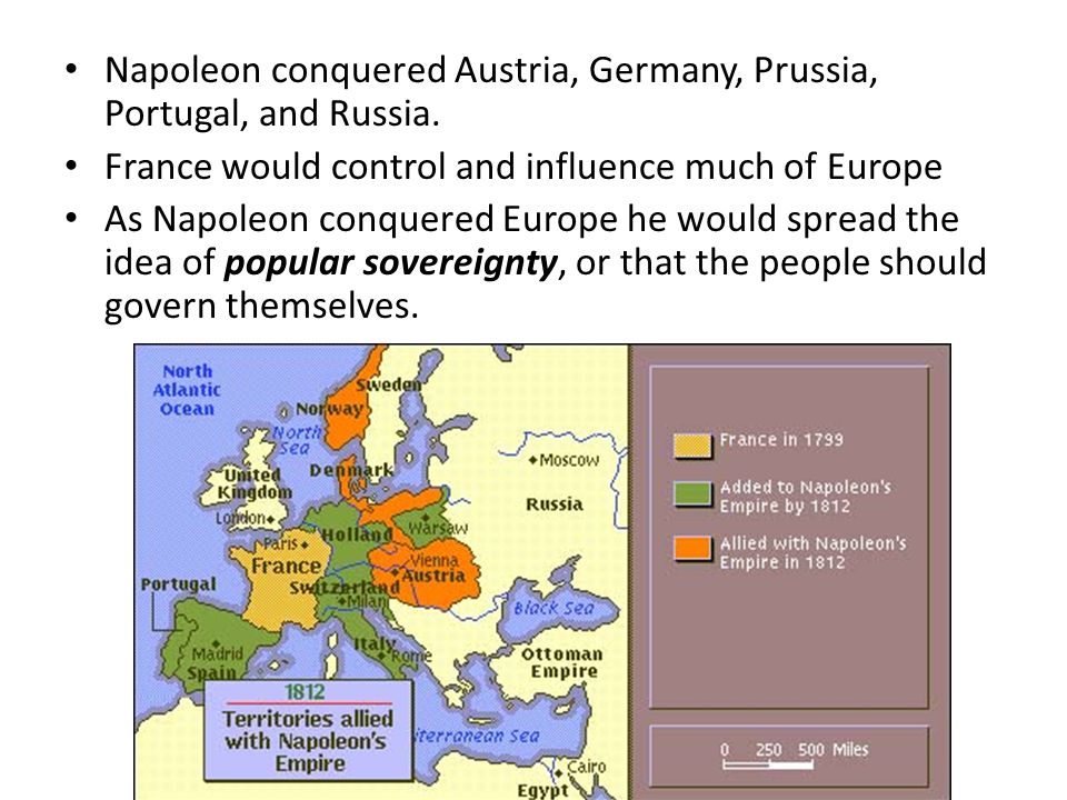 Napoleon conquered Austria, Germany, Prussia, Portugal, and Russia. France would control and influence much of Europe As Napoleon conquered Europe he