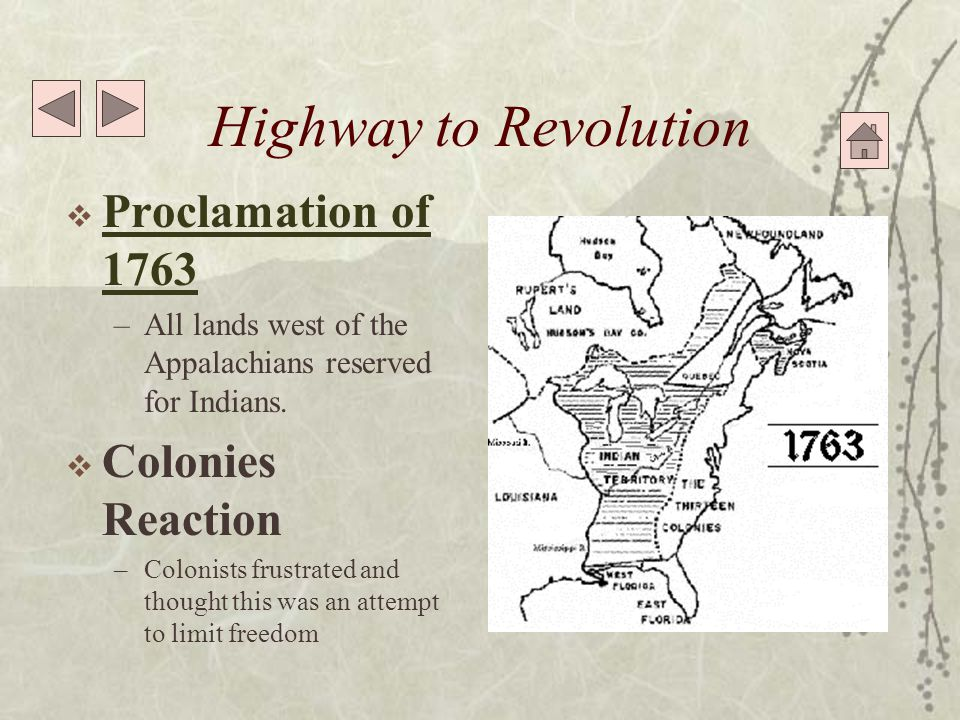Highway to Revolution  1764 Currency Act 1764 Currency Act –Colonist forbidden to make paper money legal tender  Colonies Reaction –Colonist resorted to barter to bypass law