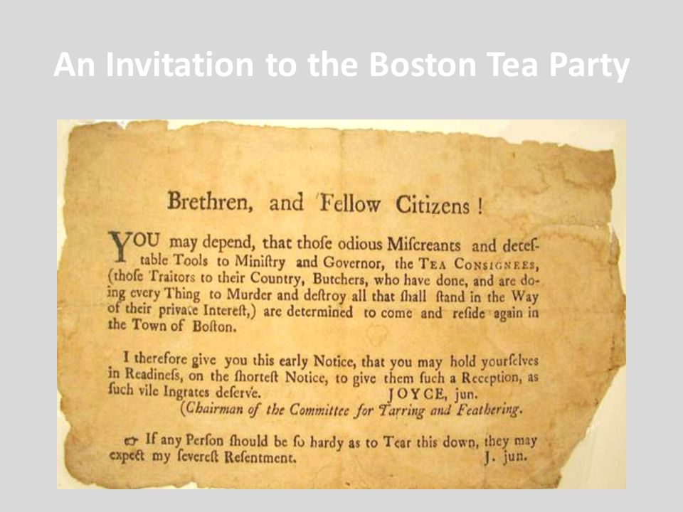An Invitation to the Boston Tea Party