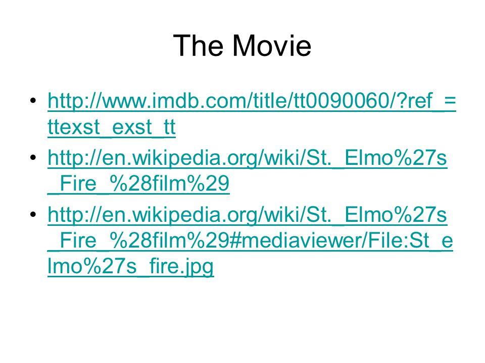 The Movie http://www.imdb.com/title/tt0090060/ ref_= ttexst_exst_tthttp://www.imdb.com/title/tt0090060/ ref_= ttexst_exst_tt http://en.wikipedia.org/wiki/St._Elmo%27s _Fire_%28film%29http://en.wikipedia.org/wiki/St._Elmo%27s _Fire_%28film%29 http://en.wikipedia.org/wiki/St._Elmo%27s _Fire_%28film%29#mediaviewer/File:St_e lmo%27s_fire.jpghttp://en.wikipedia.org/wiki/St._Elmo%27s _Fire_%28film%29#mediaviewer/File:St_e lmo%27s_fire.jpg