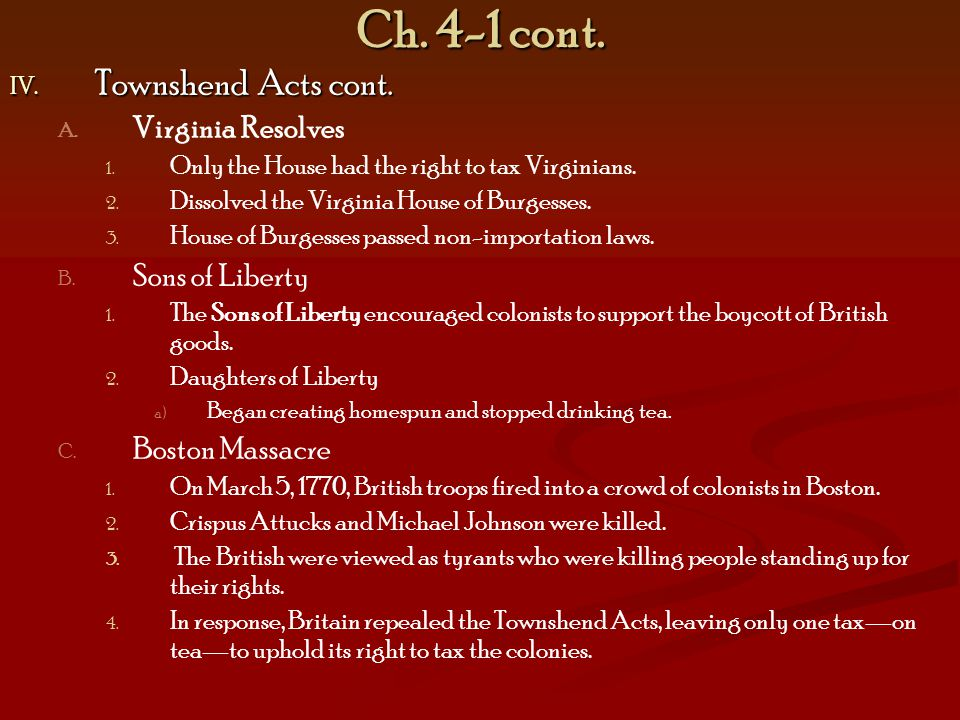 Ch.4-1 cont. IV. Townshend Acts cont. A. A. Virginia Resolves 1.
