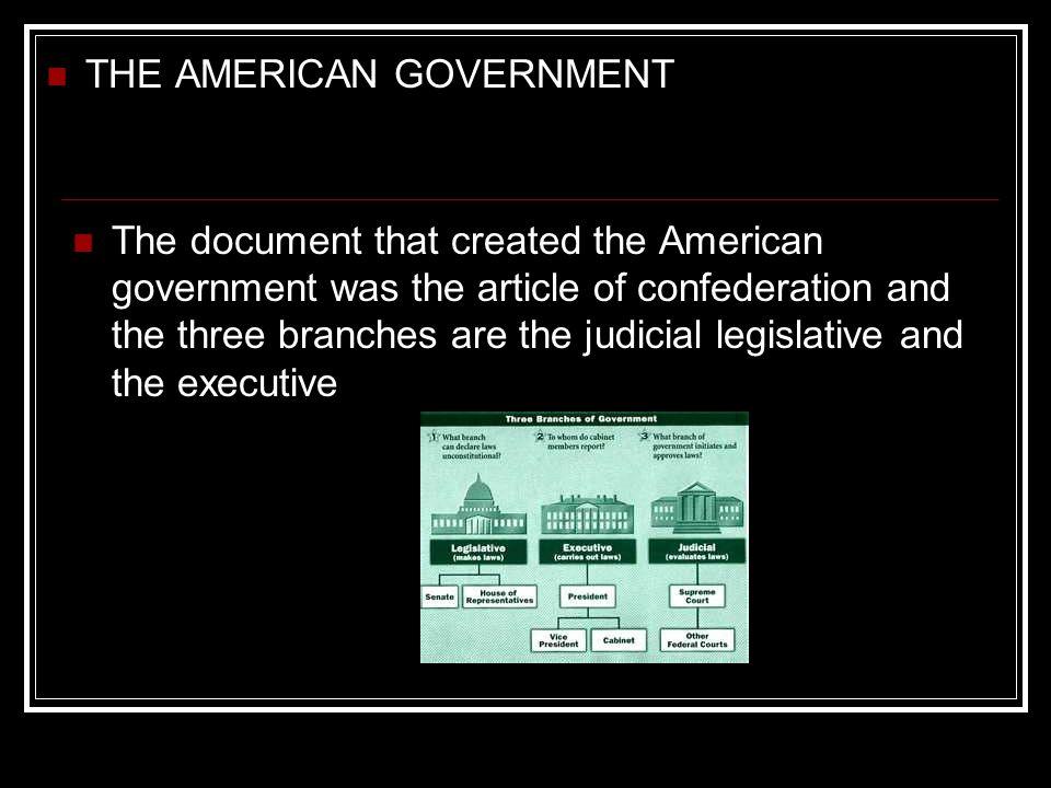 The document that created the American government was the article of confederation and the three branches are the judicial legislative and the executi