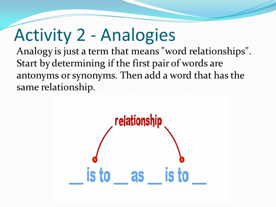 Activity 2 - Analogies Analogy is just a term that means word relationships .